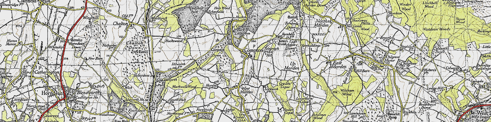 Old map of Compton in 1945