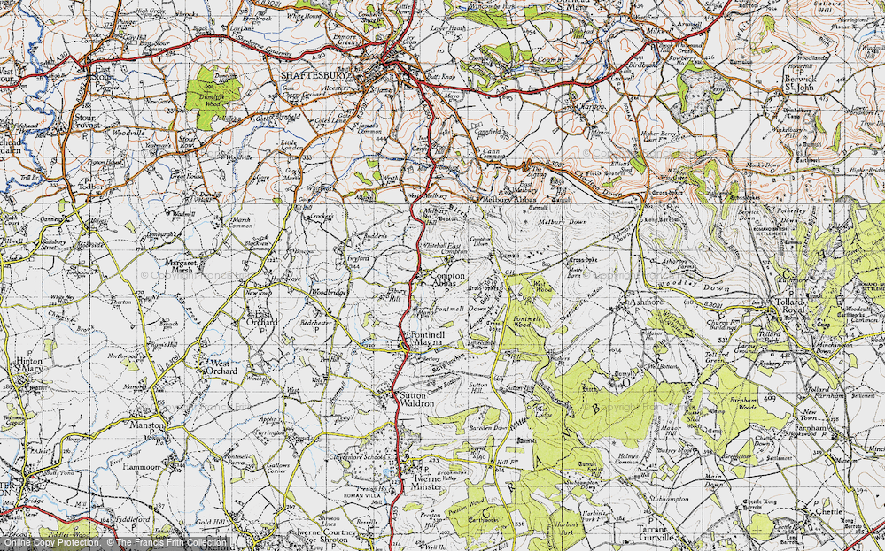 Old Map of Compton Abbas, 1945 in 1945