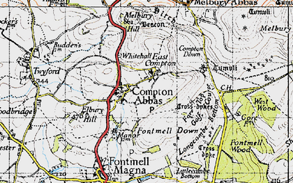 Old map of Compton Abbas in 1945