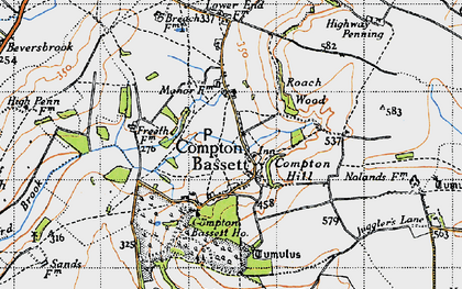 Old map of Compton Bassett in 1940