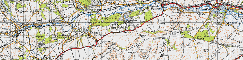 Old map of Compton Chamberlayne in 1940
