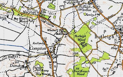 Old map of Compton Dundon in 1945