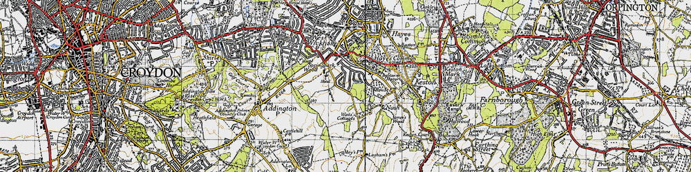 Old map of Wickham Court in 1946