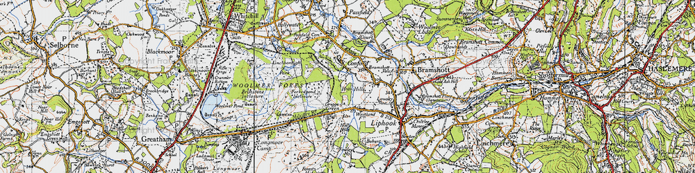 Old map of Woolmer Forest in 1940