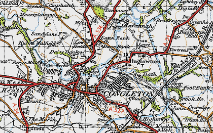 Old map of Congleton in 1947