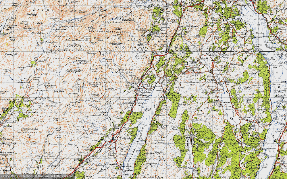 Old Map of Coniston, 1947 in 1947