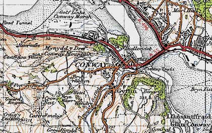 Old map of Conwy in 1947