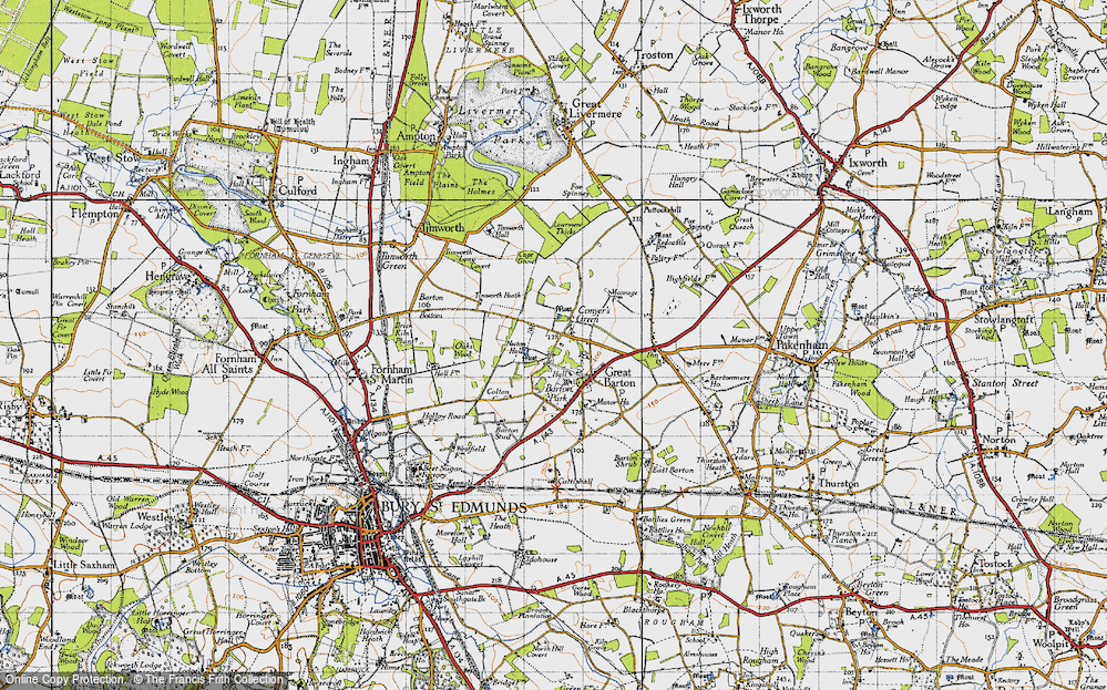 Old Map of Historic Map covering Timworth Heath in 1946