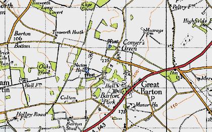 Old map of Timworth Heath in 1946