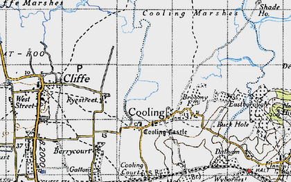 Old map of Whalebone Marshes in 1946
