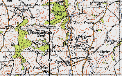 Old map of Coombe in 1946