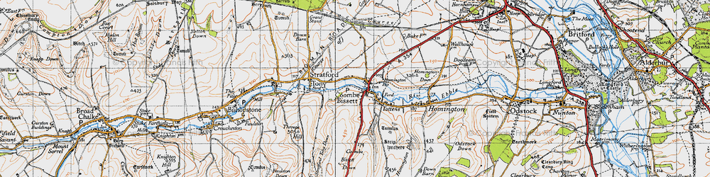 Old map of Coombe Bissett in 1940