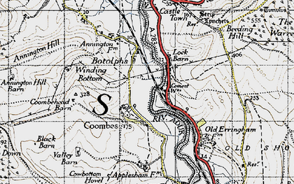 Old map of Winding Bottom in 1940