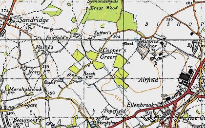 Old map of Cooper's Green in 1946