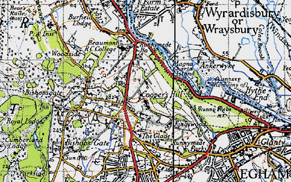 Old map of Cooper's Hill in 1940