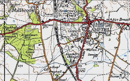 Old map of Cooper's Hill in 1946
