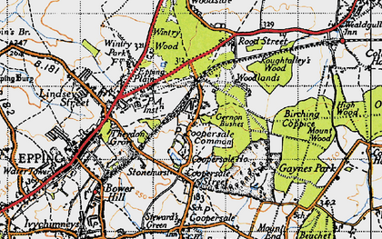 Old map of Coopersale Common in 1946