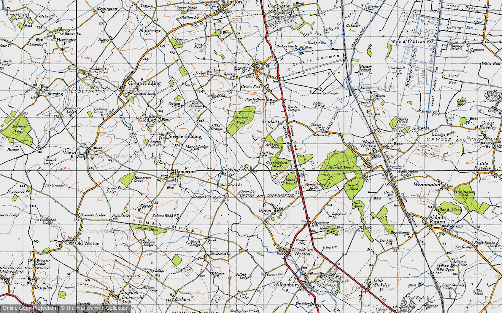 Old Map of Historic Map covering Aversley Wood in 1946