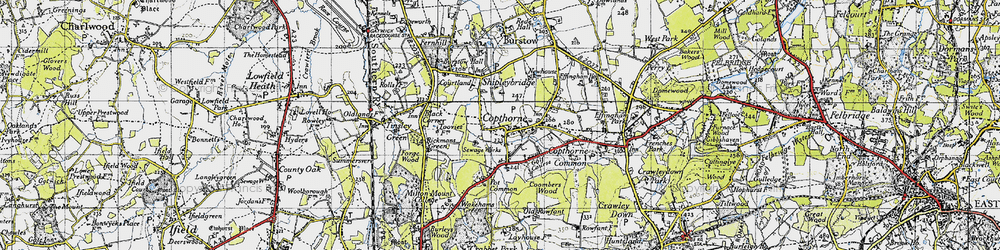 Old map of Copthorne Bank in 1946