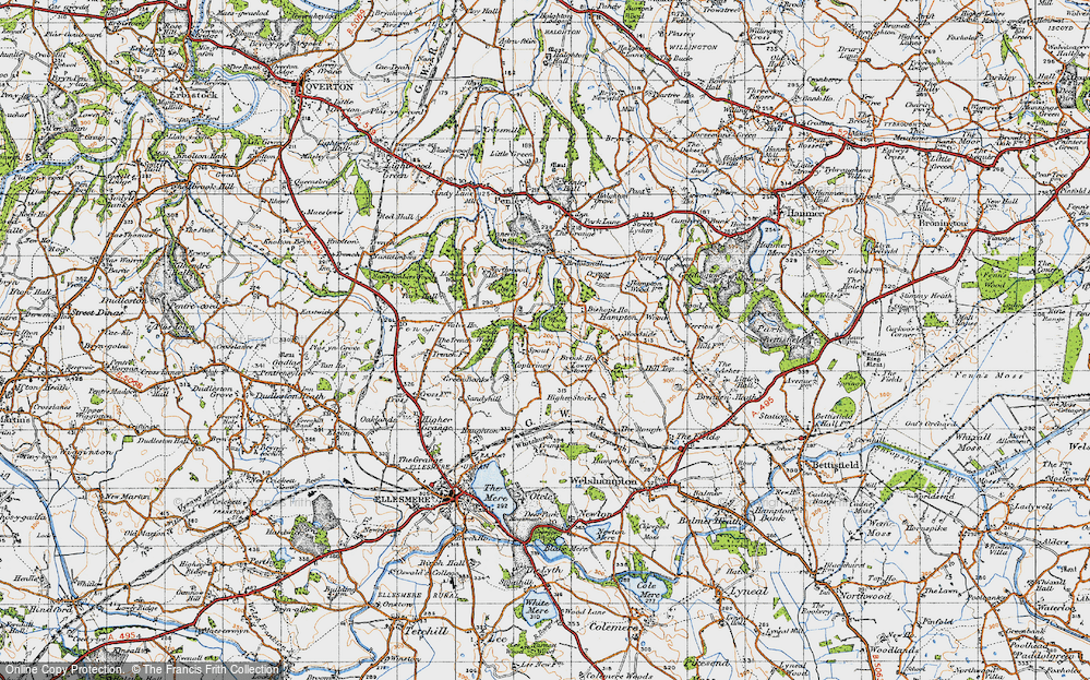 Old Map of Historic Map covering Lionlane Wood in 1947