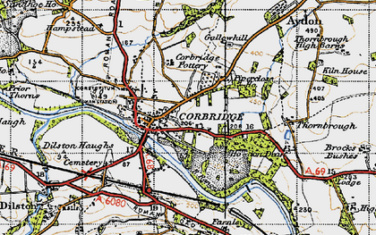 Old map of Corbridge in 1947