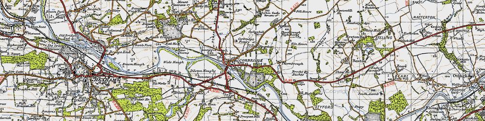 Old map of Corbridge in 1947