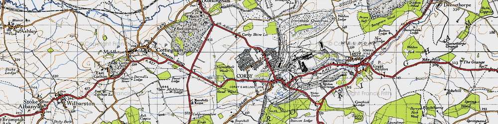 Old map of Corby in 1946