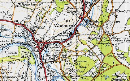 Old map of Cores End in 1945