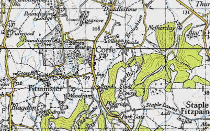 Old map of Corfe in 1946