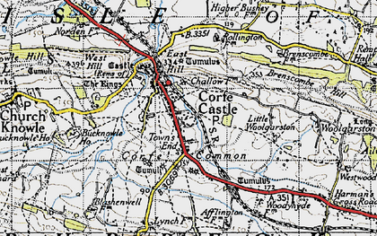 Old map of Corfe Castle in 1940