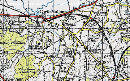 Old map of Corfe Mullen in 1940