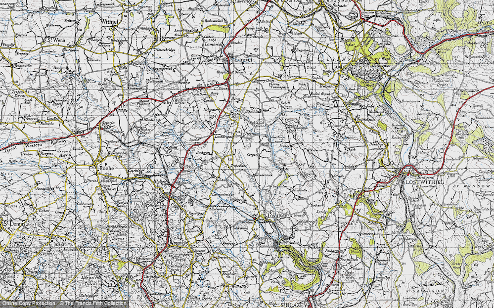 Old Map of Historic Map covering Cornwall in 1946