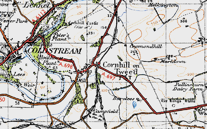 Old map of Cornhill on-Tweed in 1947
