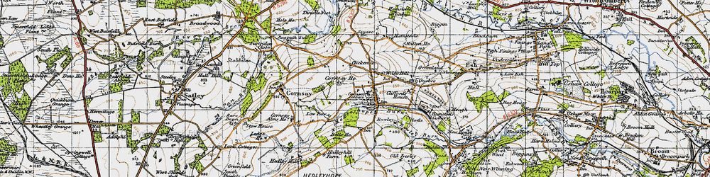 Old map of Wilk's Hill in 1947