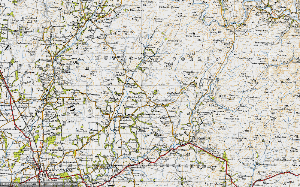 Old Map of Historic Map covering Woodhill Edge in 1947