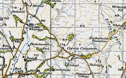 Old map of Whitcastles Hill in 1947