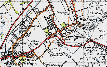 Old map of Corringham in 1946