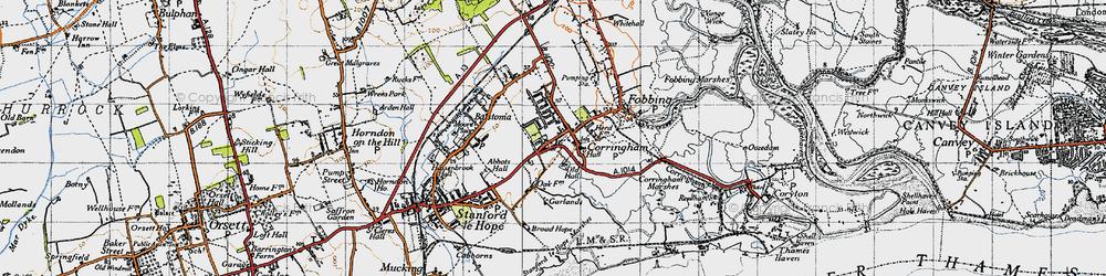 Old map of Corringham in 1946