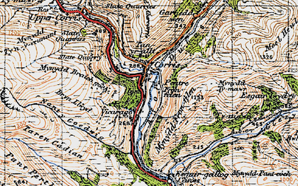 Old map of Corris in 1947