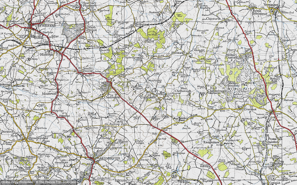 Old Map of Historic Map covering Wood Fold Hill in 1945
