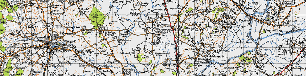 Old map of Limbury Hill in 1947