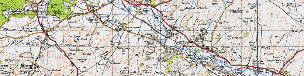 Old map of Whatcomb Bottom in 1940