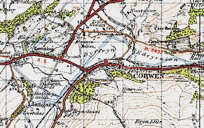 Old map of Corwen in 1947