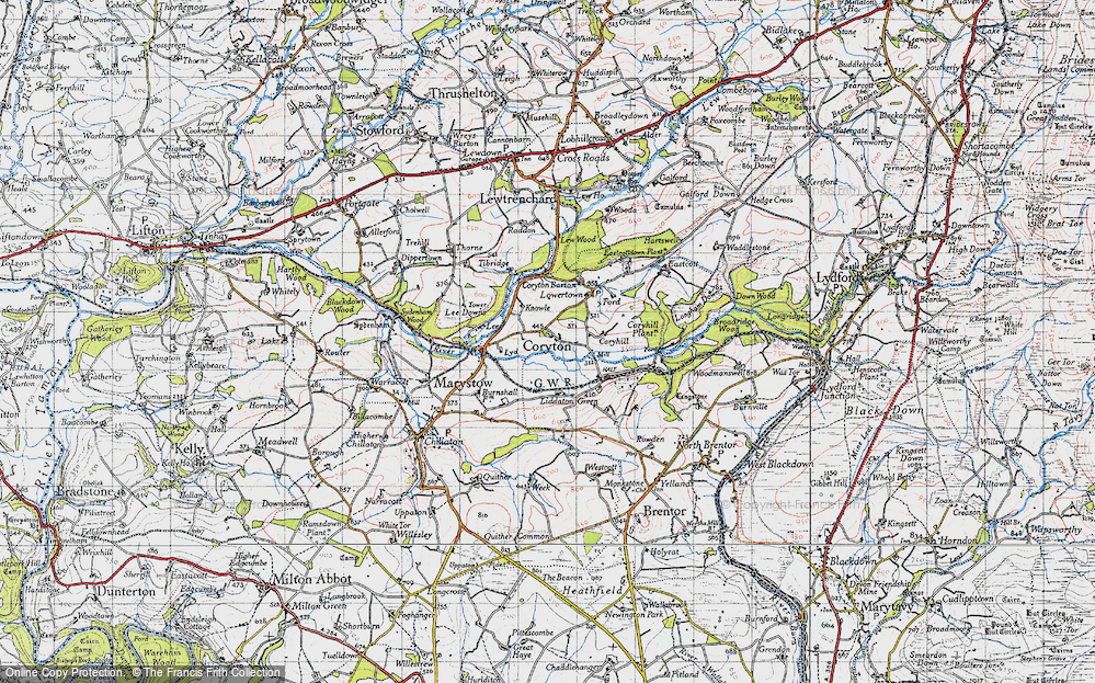 Old Map of Historic Map covering Lee Downs in 1946