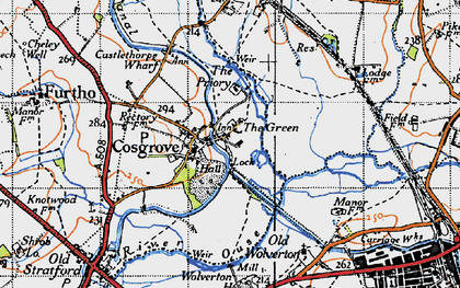 Old map of Cosgrove in 1946