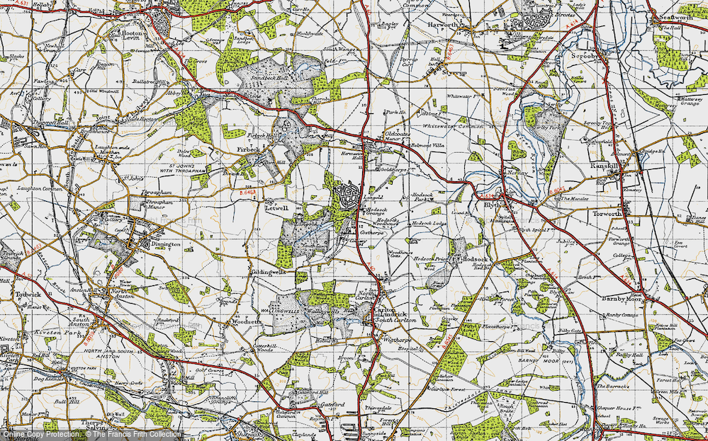 Old Map of Historic Map covering Langold Country Park in 1947