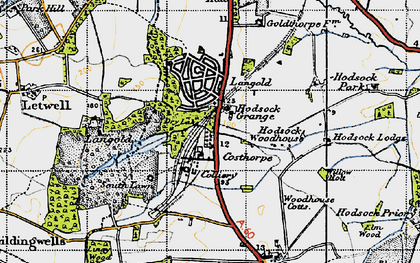 Old map of Langold Country Park in 1947