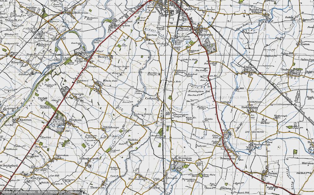 Old Map of Historic Map covering Balderton Grange in 1946