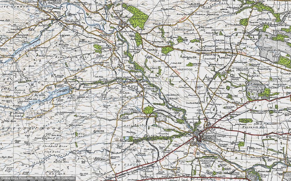 Old Map of Historic Map covering Balder Grange in 1947