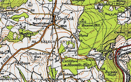 Old map of Trelleck Cross in 1946